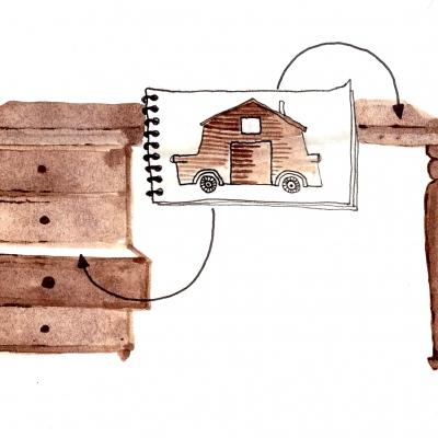 najde v šuplíku nějaký starý návrh domečku
