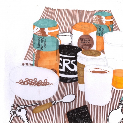 příklad naší typické anglické snídaně -instantní káva-křupínky-jogurt-