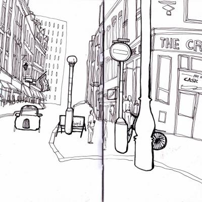 a nakonec velice unikátní pohled na jednu z ulic v centru Londýna s projíždějícím taxíkem -obrázek byl nakreslen novou fixou, zakoupenou v Londýnském shopu-