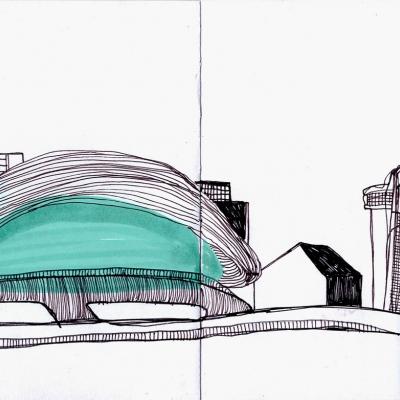 """místo, kde náš výlet začíná Londýn-Stratford-Olympijský park-plavecký bazén-Zaha Hadid """"jsme ohromeni"""""""